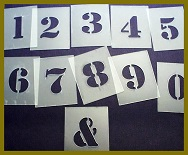 40mm Numbers stencils 0-9 plus &